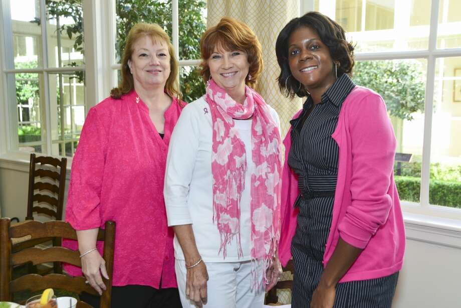 American Cancer Society's Tickled Pink Luncheon at the Junior League of Houston. Donna Kennedy, Carla Schwab, Damita Hines. Photo: CatchLight Group