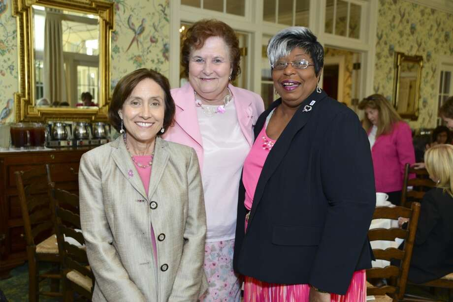 American Cancer Society's Tickled Pink Luncheon at the Junior League of Houston. Sandra Nauert, Diana Kammer, Myra Bailey. Photo: CatchLight Group