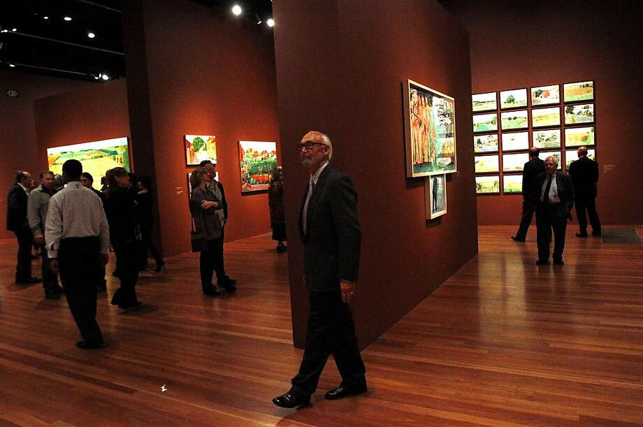 Sam Matthews, of Stinson Beach, tours the exhibit at a gala to honor artist David Hockney at the de Young Museum in San Francisco, Calif., on Thursday, October 24, 2013.  His retrospective opens at the museum on Saturday. Photo: Sarah Rice, Special To The Chronicle