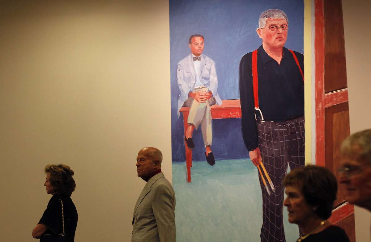 One of David Hockney's paintings advertises his retrospective at the de Young Museum in San Francisco, Calif., on Thursday, October 24, 2013.