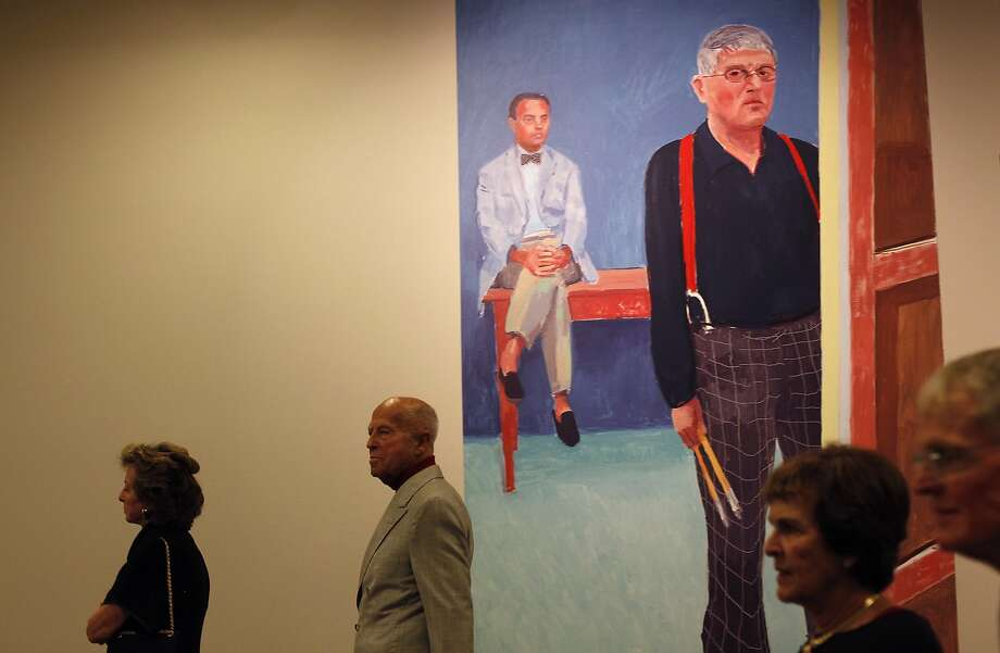 One of David Hockney's paintings advertises his retrospective at the de Young Museum in San Francisco, Calif., on Thursday, October 24, 2013. Photo: Sarah Rice, Special To The Chronicle