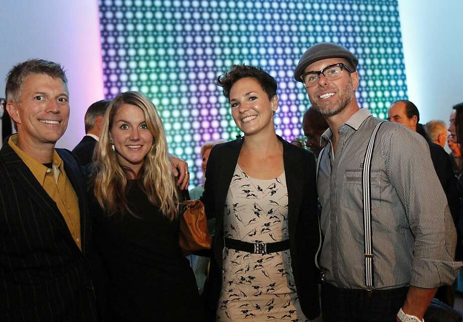 From right, Brian Anderson, Alida Draudt (cq), Kate Perry, and Bart Magee attend a gala to honor artist David Hockney at the de Young Museum in San Francisco, Calif., on Thursday, October 24, 2013.  His retrospective opens at the museum on Saturday. Photo: Sarah Rice, Special To The Chronicle