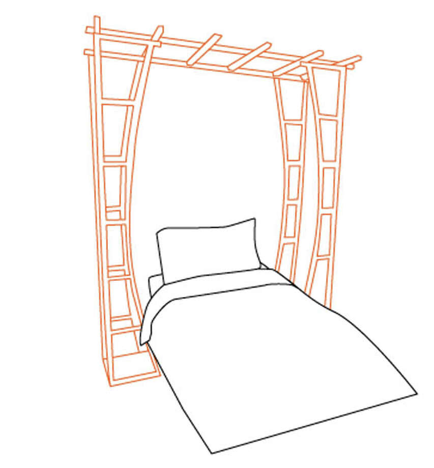1. DumpADay.com offers this great idea:Use a garden trellis or arch as a bed canopy. Wood slabs balanced between the ironwork make for handy bookshelves and night table. Upcycling!