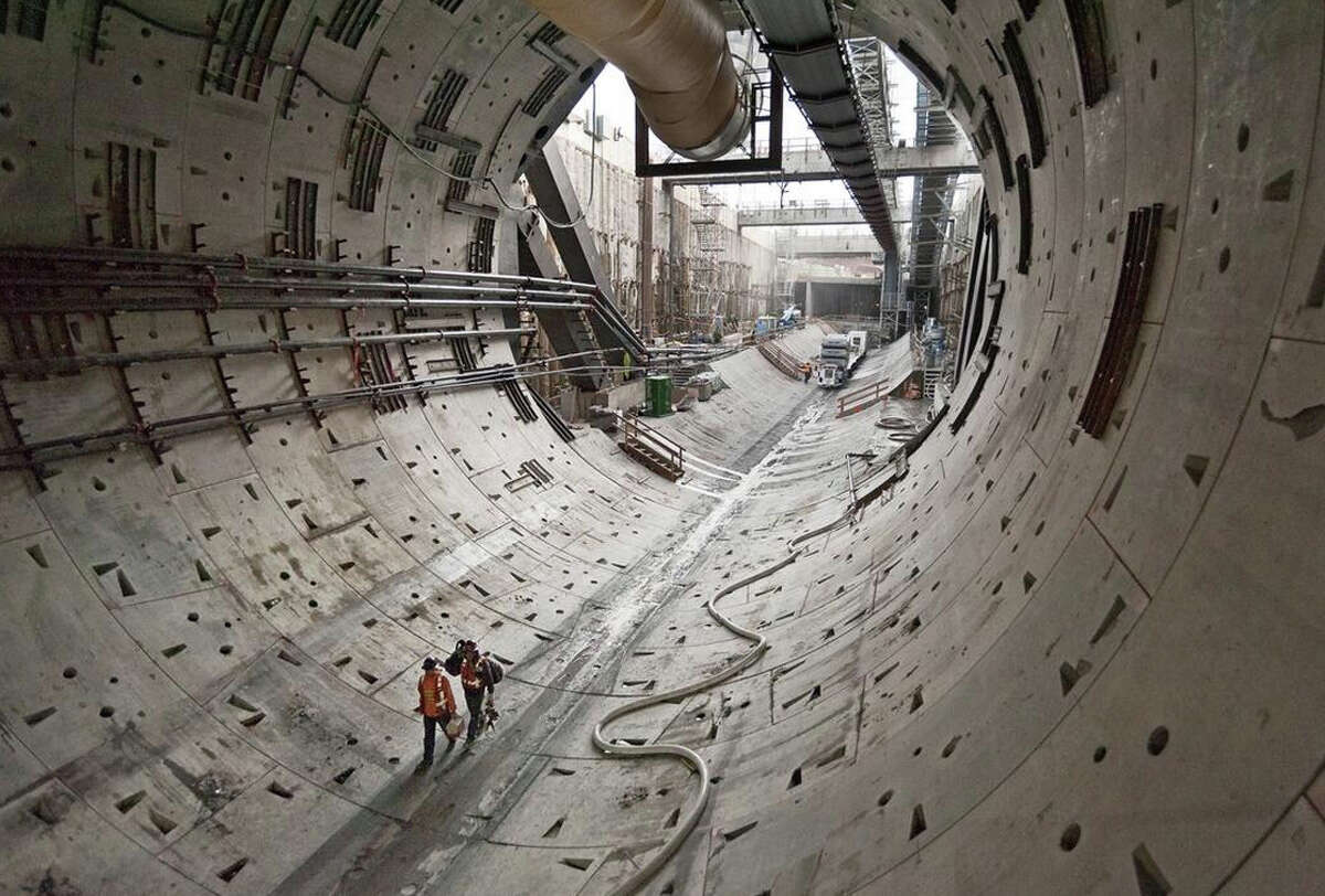The tunnel boring machine - Bertha - had cleared about 370 feet of tunnel when this state Department of Transportation photo was taken Thursday, Oct. 24, 2013.