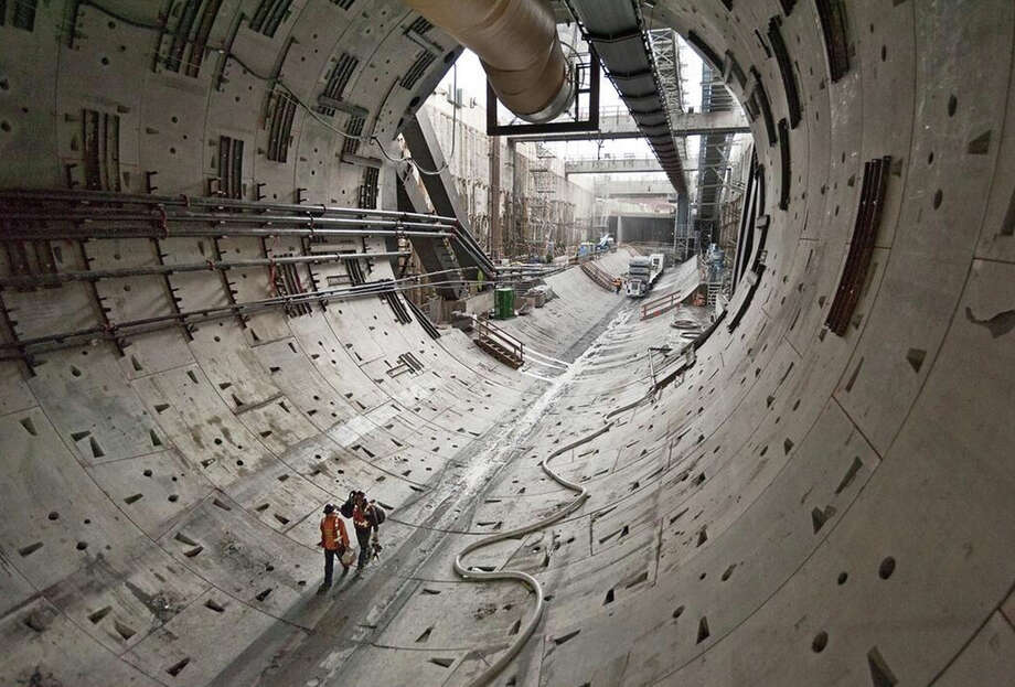 The tunnel boring machine – Bertha – had cleared about 370 feet of tunnel when this state Department of Transportation photo was taken Thursday, Oct. 24, 2013. Photo: DEPARTMENT OF TRANSPORTATION