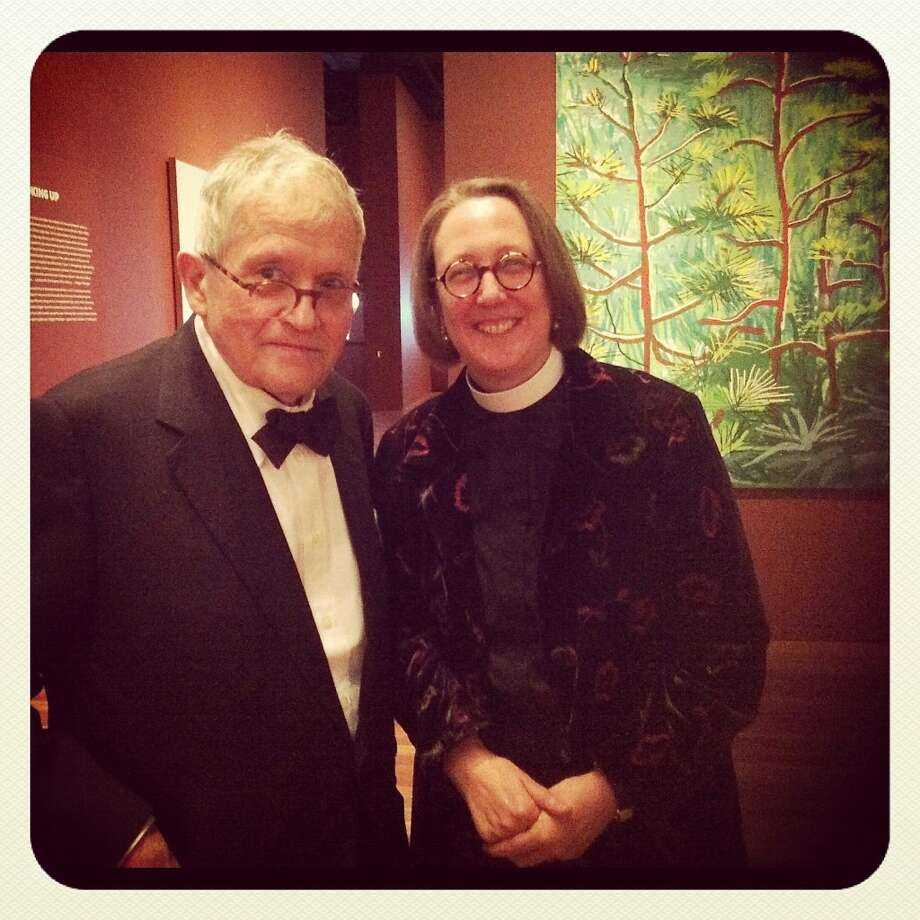 Artist David Hockney meets fellow Brit, Jane Shaw, Dean of Grace Cathedral, at a black-tie dinner Tuesday at the de Young Museum. Photo: Instagram Photo By Catherine Bigelow