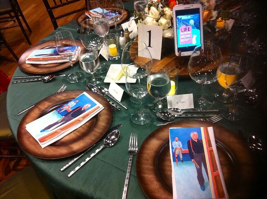 The McCall Associates dinner Tuesday at the de Young Museum paid homage to Hockney's artistry as smart tablets flashed images of his works. Photo: IPhone Photo By Catherine Bigelow