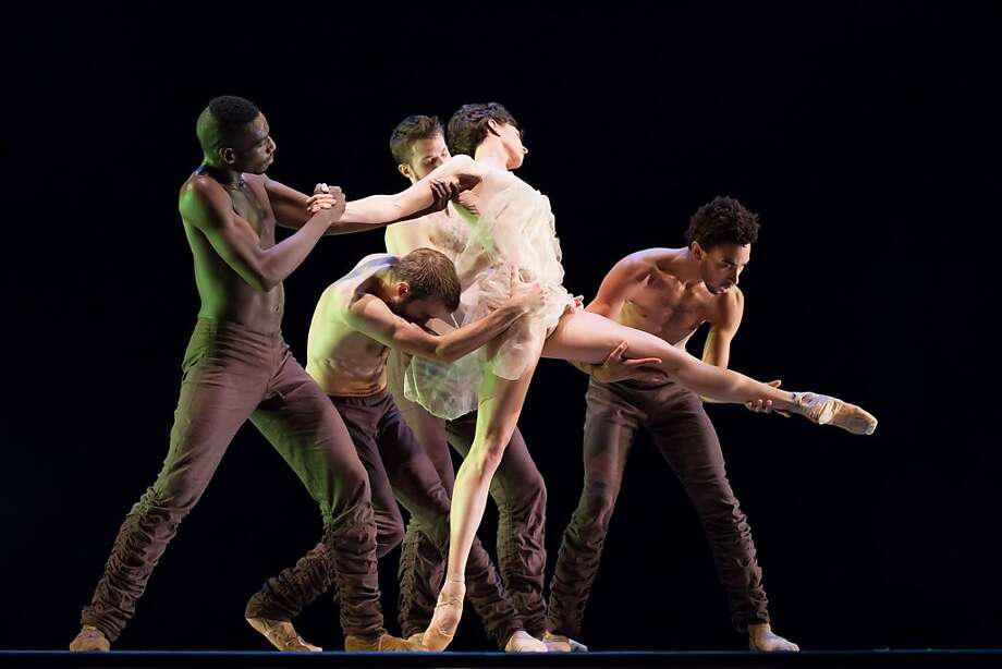 "Jeffrey Van Sciver (left), David Harvey, Robb Beresford, Meredith Webster and Michael Montgomery in Alonzo King Lines' Ballet's ""Writing Ground."" Photo: Margo Moritz, Alonzo King LINES Ballet"