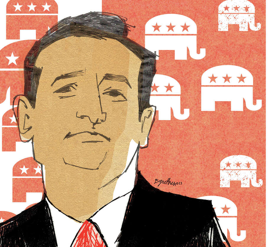 This artwork by Donna Grethen relates to Sen. Ted Cruz's opposition to Obamacare. ORG XMIT: tms20130926145908
