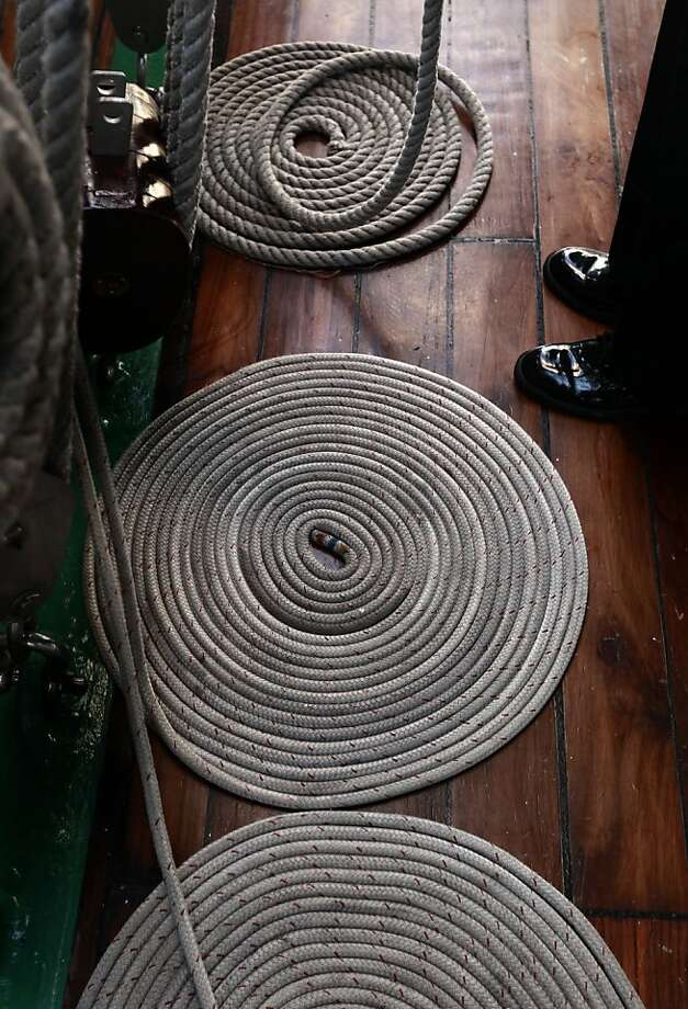 "Ropes are kept tidy aboard the ""Gloria"" a Colombian navy sailing ship on Friday Oct. 25, 2013, as it makes it's way to pier 17 along the Embarcadero in San Francisco, Calif. Photo: Michael Macor, The Chronicle"
