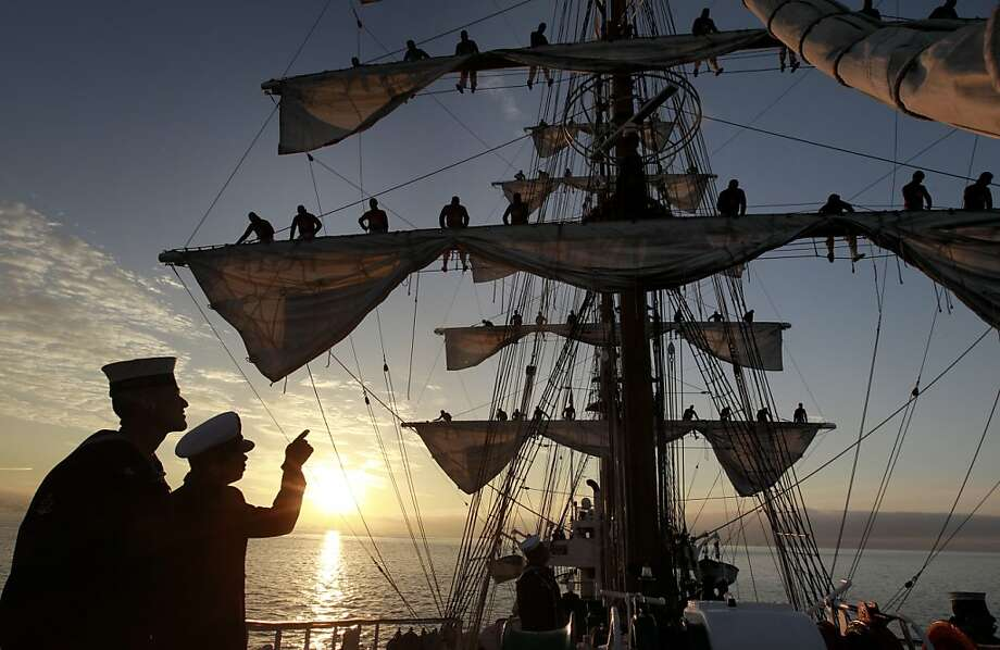 "Crew members and riggers aboard the ""Gloria"" a Colombian navy sailing ship on Friday Oct. 25, 2013, as it makes it's way to pier 17 along the Embarcadero in San Francisco, Calif. Photo: Michael Macor, The Chronicle"