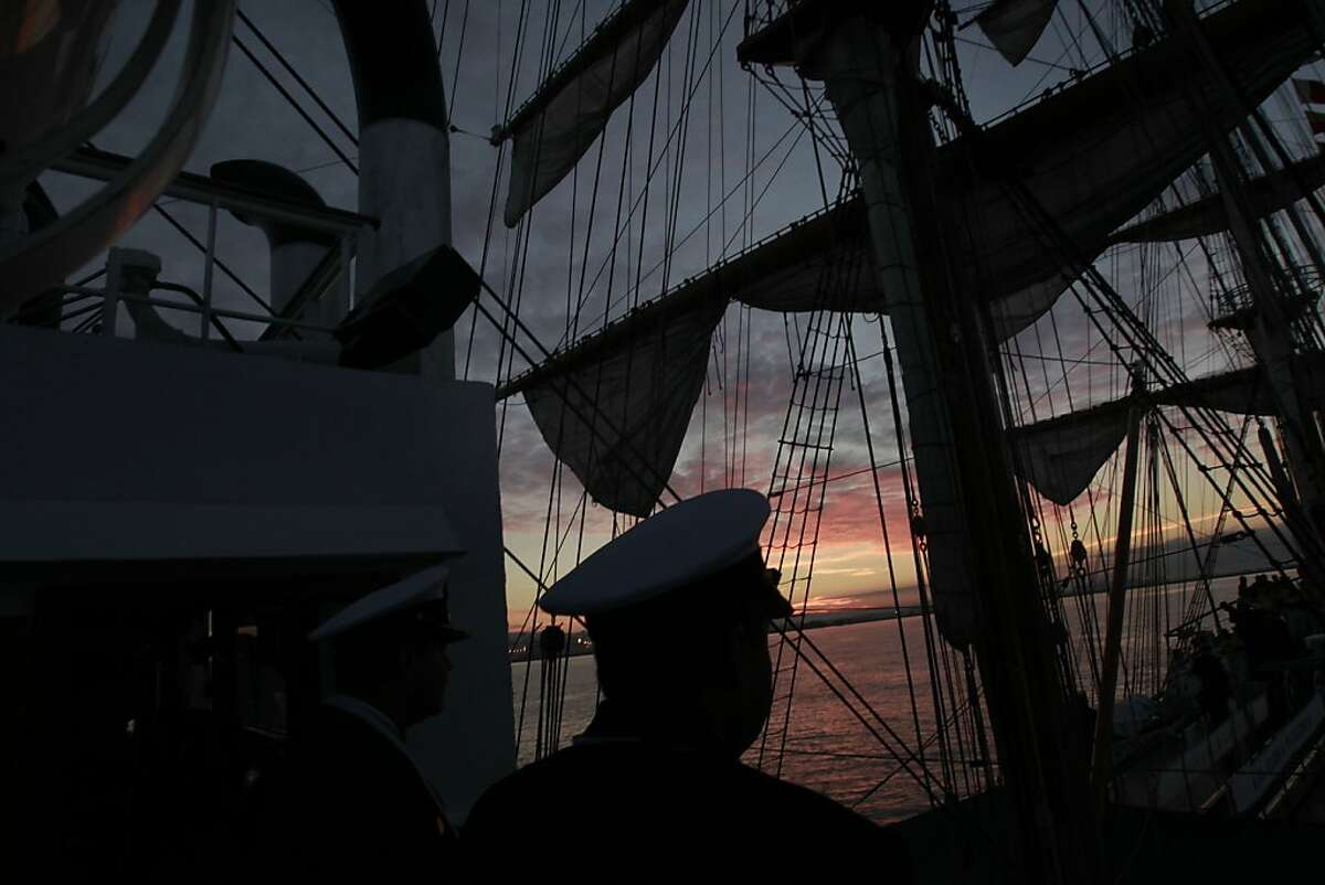 At sunrise aboard the