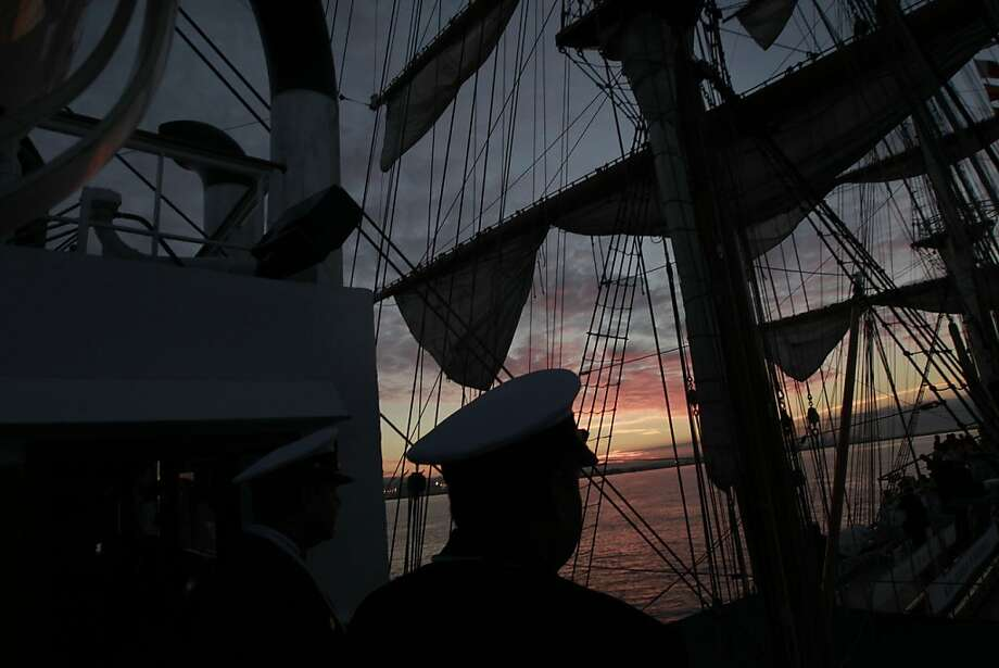 "At sunrise aboard the ""Gloria"" a Colombian navy sailing ship on Friday Oct. 25, 2013, makes it prepares to make it's way to pier 17 along the Embarcadero in San Francisco, Calif. Photo: Michael Macor, The Chronicle"