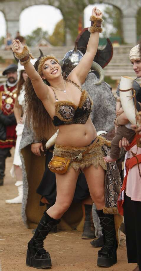 Heather Pacheco won 3rd place for her barbarian costume during the Best Dressed Barbarian Contest at the Renaissance Festival on Sunday, Nov. 20, 2011, in Plantersville. Photo: Mayra Beltran, Houston Chronicle