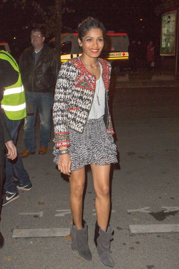 Actress Freida Pinto attends the Isabel Marant for H&M presentation on October 24, 2013 in Paris, France. Photo: Marc Piasecki, FilmMagic