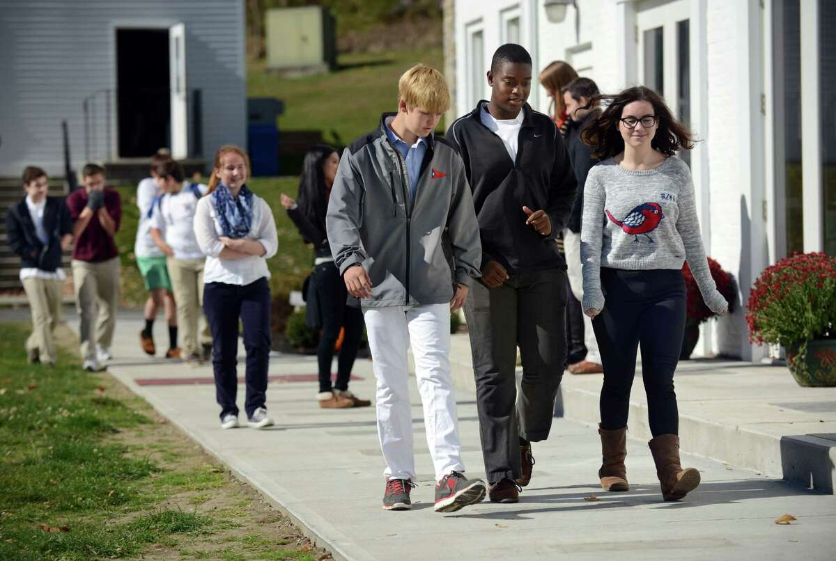 Wooster students walk to their next activity Thursday, Oct. 24, 2013. Wooster School on Miry Brook Road in, Danbury, Conn., is a pre-school through high school, private co-educational school.