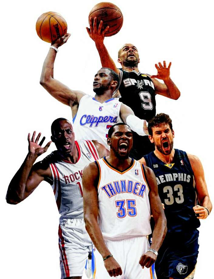 Clockwise from top, the Spurs' Tony Parker, Grizzlies' Marc Gasol, Thunder's Kevin Durant, Rockets' Dwight Howard and Clippers' Chris Paul are key members of some of the Western Conference's most formidable teams.