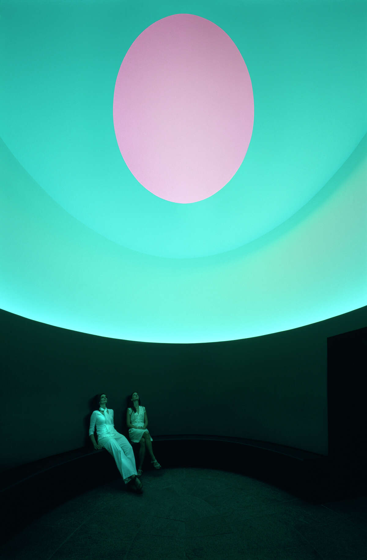 """Interior of """"The Color Inside,"""" the new James Turrell skyspace installation atop the student activity center at the University of Texas Austin."""