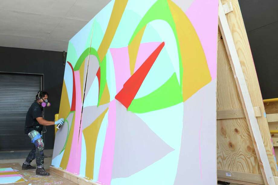 Daniel Anguilu painted a four-sided mural at Tulsa's Hardesty Arts Center. Photo: Geoffrey Hicks