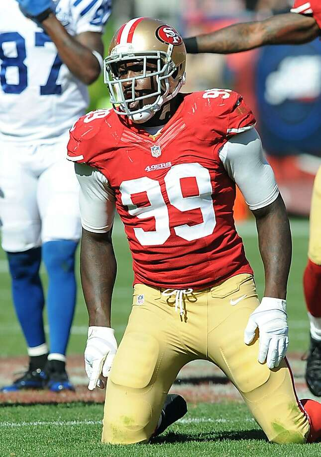 Aldon Smith last played Sept. 22 against the Colts and is due to have finished his stay at a substance-abuse treatment facility. Photo: John Cordes, Associated Press