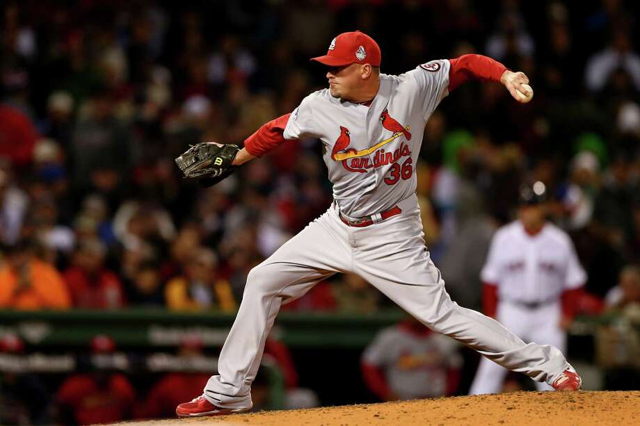 St. Louis Cardinals RP Randy Choate: The lefty reliever graduated from Churchill in 1994, when Wacha was almost 3. Choate, 37, retired the only batter he faced in Game 1, extending his streak this playoff run to nine. That makes him perfect in three innings. He was on the Yankees' 2001 World Series team that lost to Arizona. Photo: Elsa, Getty Images / 2013 Getty Images