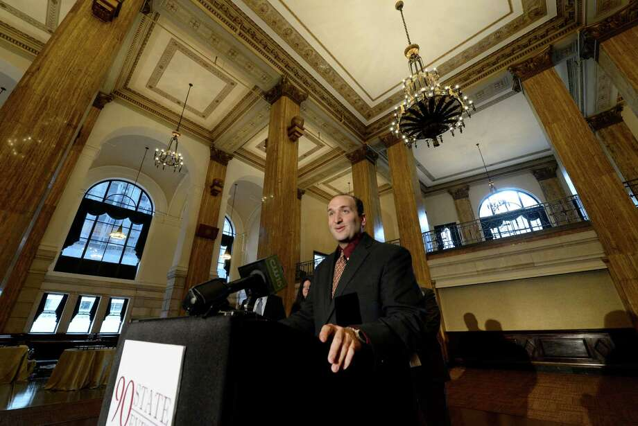 Matthew Mazzone announces the official opening of a new 14,000 square foot venue in Albany called 90 State Street Events Friday afternoon, Oct. 25, 2013, during a press event in Albany, N.Y.   (Skip Dickstein / Times Union) Photo: Skip Dickstein / 00024380A