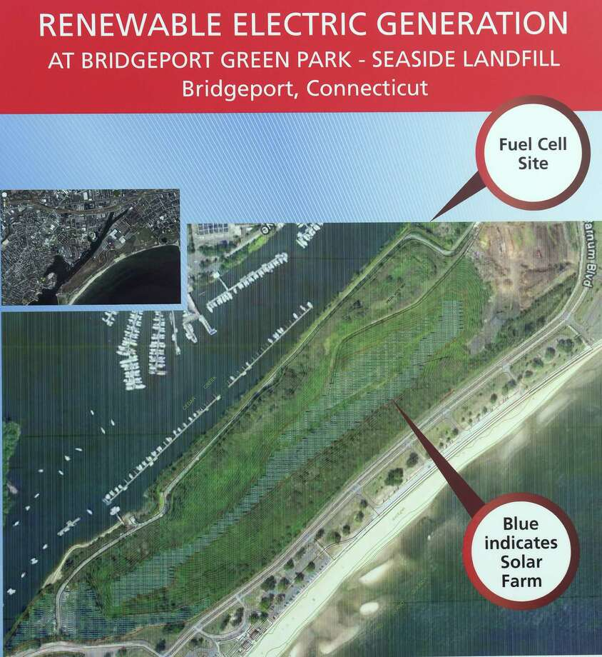 A display shows the planned Bridgeport Green Park at Seaside Landfill in Bridgeport, Conn. Photo: Autumn Driscoll / Connecticut Post