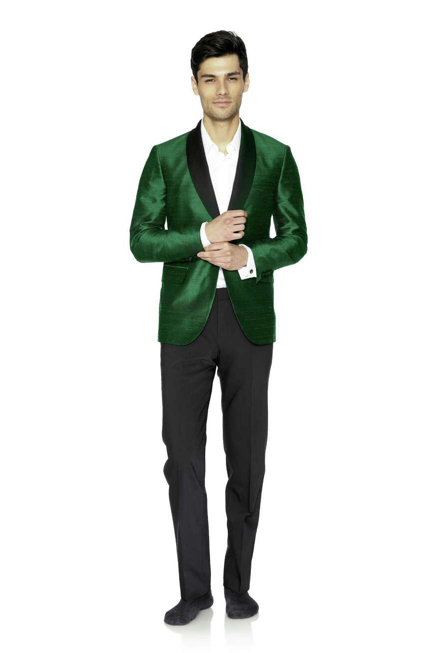 DAVID HART Dupioni silk smoking jacket with contrasting lapels, $1295.