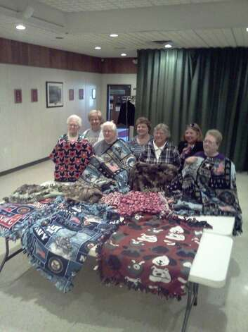 North Albany Unit 1610 hosted a No-sew Fleece Project to make throws for the Stratton Veterans Affairs Medical Center in Albany. The members are, from left, Phyllis Egan, Judy Benner, Deb Heritage, Jan Precopia, Sally Legendre, Peggy Norton and Diane Maguire. (Judy Benner)