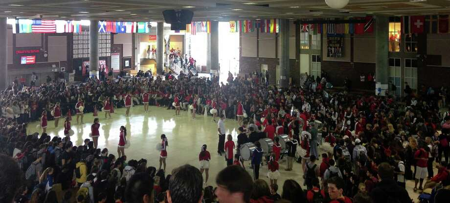 Friday's Homecoming pep rally at Greenwich High School. Photo: Paul Schott, Greenwich Time / Greenwich Time