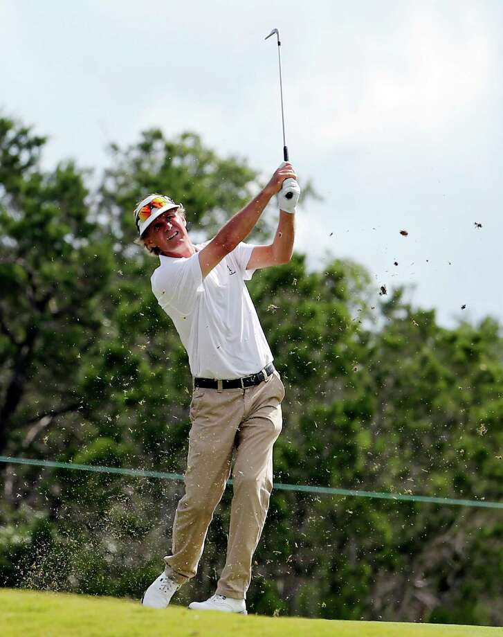 Anders Forsbrand hits his approach shot on No. 18 during the first round of the AT&T Championship held Friday Oct. 25, 2013 on the AT&T Canyons Course at TPC San Antonio. Photo: Edward A. Ornelas, San Antonio Express-News / © 2013 San Antonio Express-News