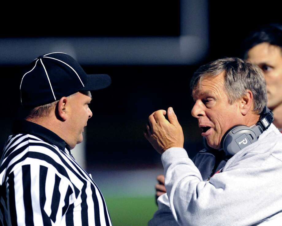 New Canaan High School football coach Lou Marinelli during the game between Staples High School and New Canaan High School at Staples in Westport, Friday night, Oct. 25, 2013. Photo: Bob Luckey / Greenwich Time