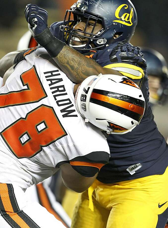 California defensive lineman Deandre Coleman (91) rushes the quarterback against Oregon State offensive linesman Sean Harlow (78) during the second half of an NCAA college football game in Berkeley, Calif., Saturday, Oct. 19, 2013. (AP Photo/Tony Avelar) Photo: Tony Avelar, Associated Press