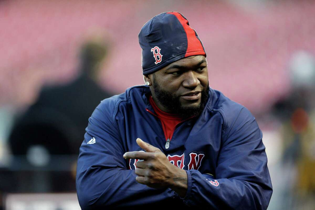 Boston Red Sox's David Ortiz during baseball practice Friday, Oct. 25, 2013, in St. Louis. The Red Sox and St. Louis Cardinals are set to play Game 3 of the World Series on Saturday in St. Louis. (AP Photo/Jeff Roberson) ORG XMIT: MOJR116
