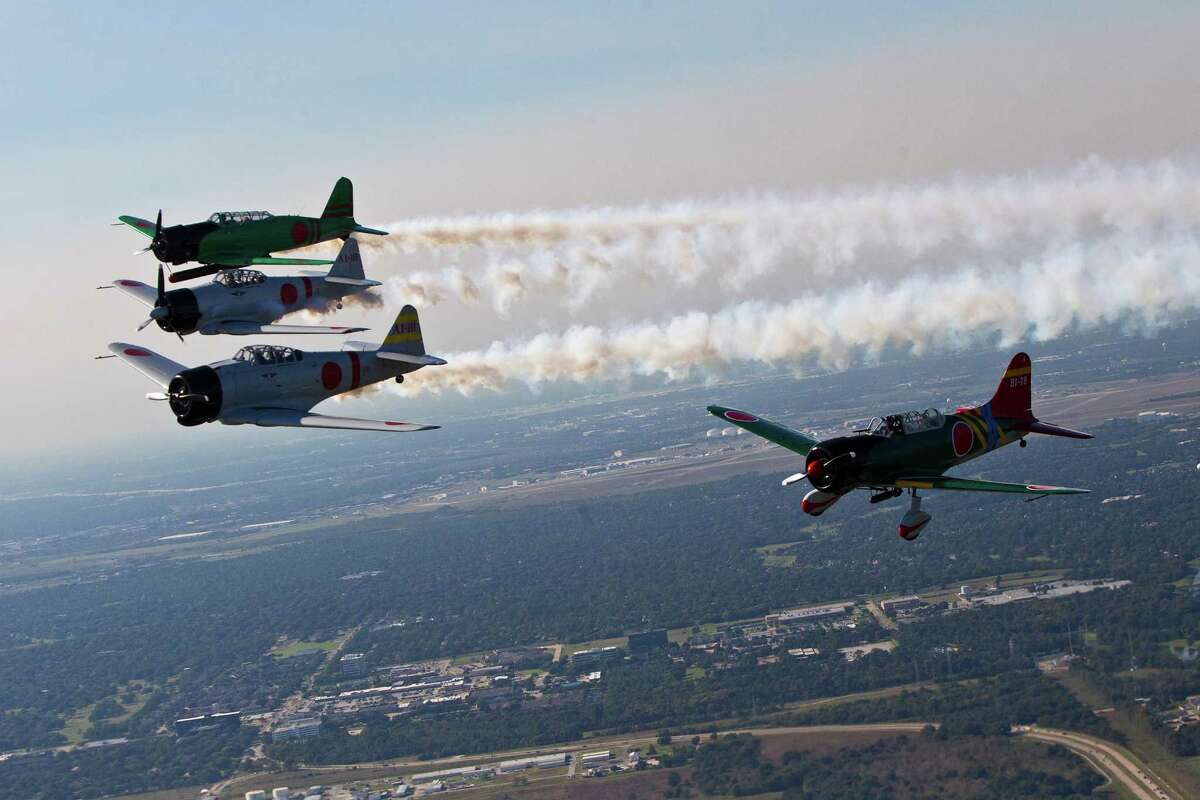 Exhibition Japanese aircrafts of the TORA Squadron fly in formation the day before the opening of the Wings Over Houston.