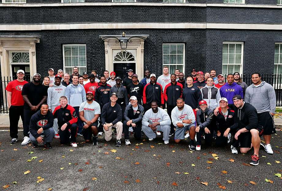 The Niners pose in front of 10 Downing Street, the home and office of the prime minister. Photo: Terrell Lloyd, San Francisco 49ers