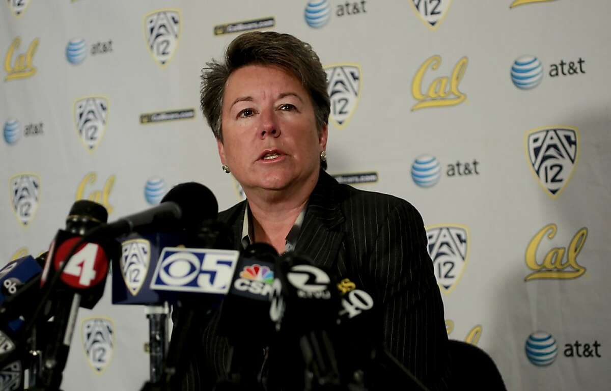 University of California, Director of Athletics Sandy Barbour holds a press conference, to announce the dismissal of the football's head coach Jeff Tedford, in Berkeley, Ca. on Tuesday Nov. 20, 2012. Jeff Tedford who has overseen the Golden Bears football program for the past 11 seasons, has been relieved of his duties as head coach at the UNiversity of California.