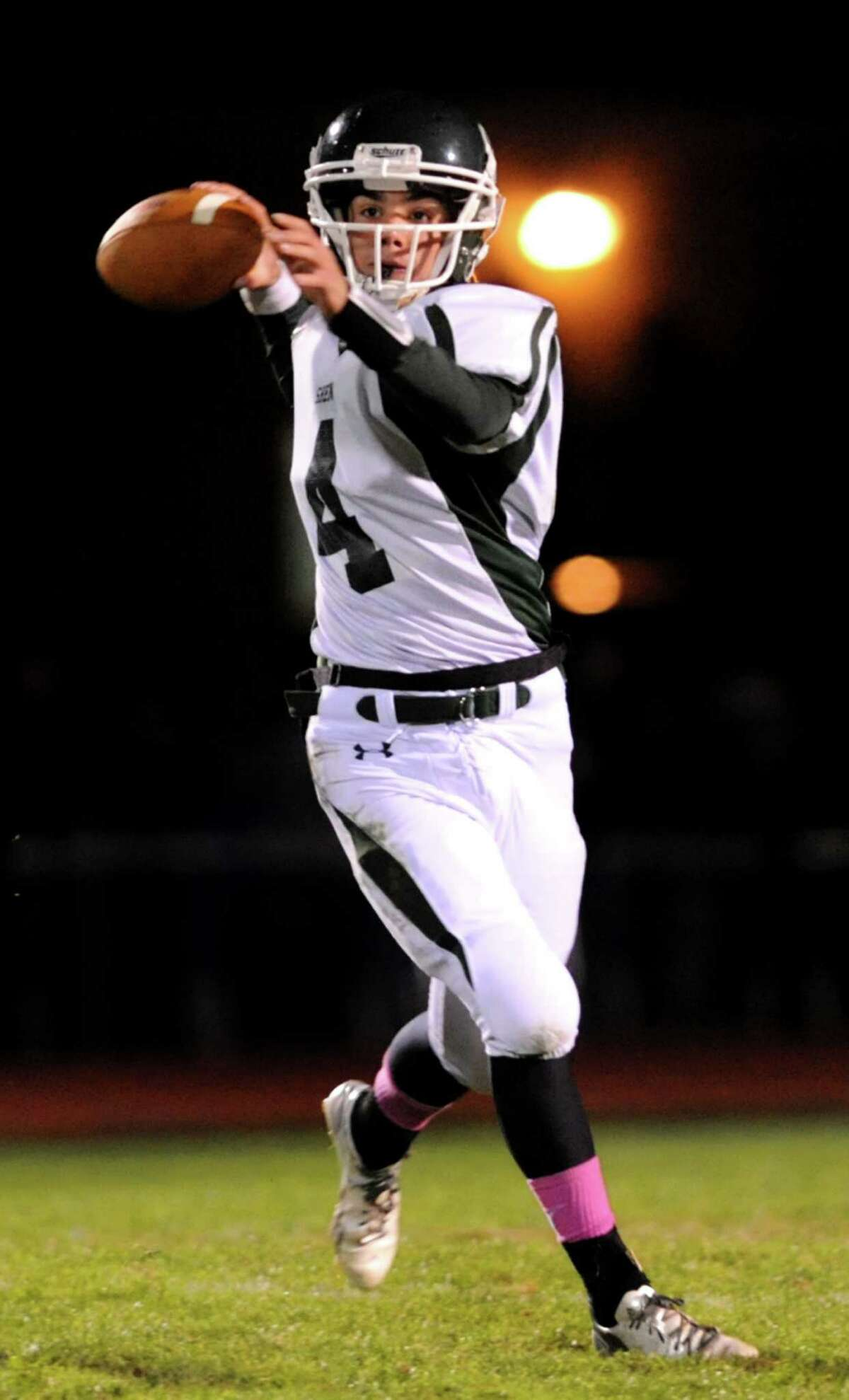Shenendehowa's quarterback Ben Sibson draws back to pass during their Class AA quarterfinal football game against Shaker on Friday, Oct. 25, 2013, at Shaker High in Latham, N.Y. (Cindy Schultz / Times Union)