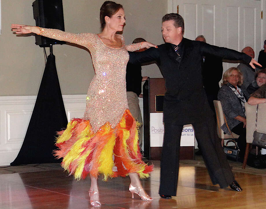 "Suzanne Gorab and Martin Ramsauer in the ""Dancing with the Stars""-style competition for the benefit of Positive Directions on Friday night in Fairfield. Photo: Mike Lauterborn / Fairfield Citizen contributed"
