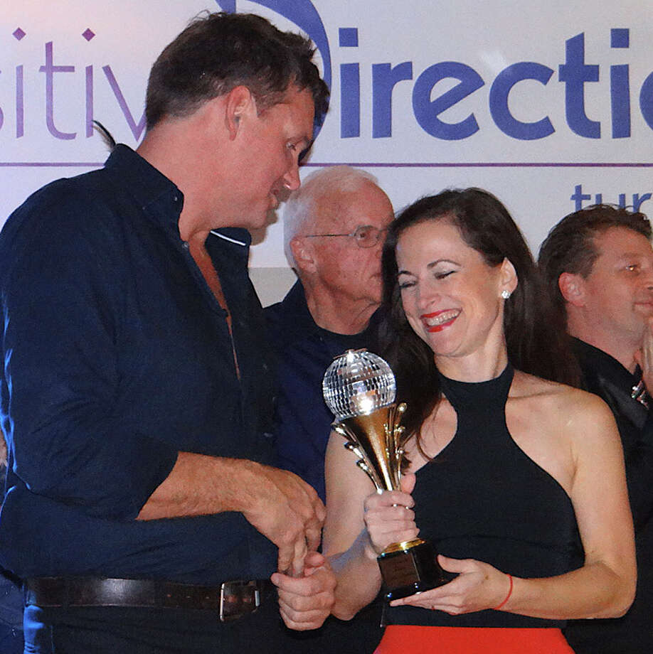 "Peter Van Heerden and Lauren Lanham won the popular vote for their performance at Positive Directions' ""A Chance to Dance"" fundraising event Friday evening at the Patterson Club. Photo: Mike Lauterborn / Fairfield Citizen contributed"