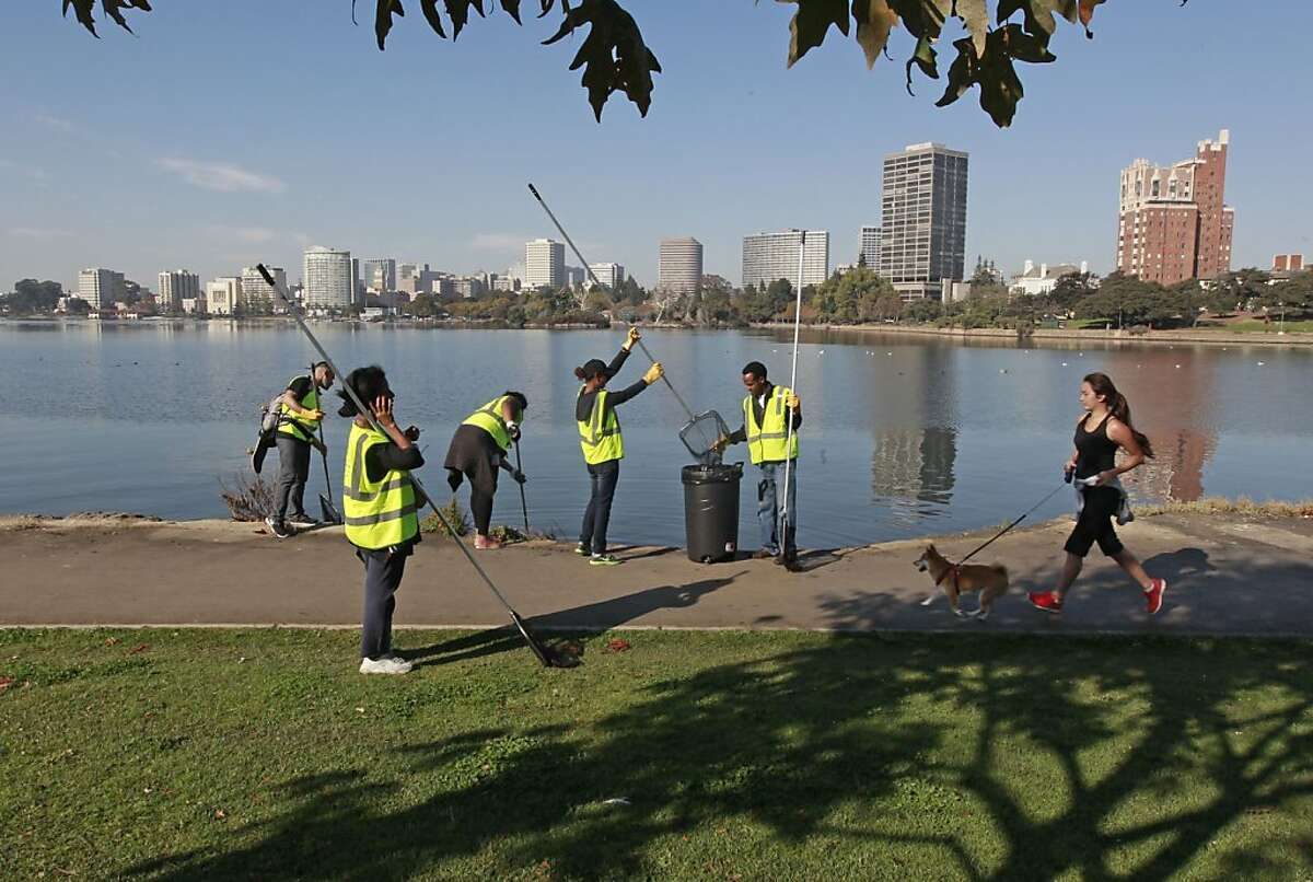 Volunteers collect debris from Lake Merritt, where the first river otter in decades was spotted this month. The sighting is seen as proof that the Oakland ecosystem is coming back after years of deterioration.