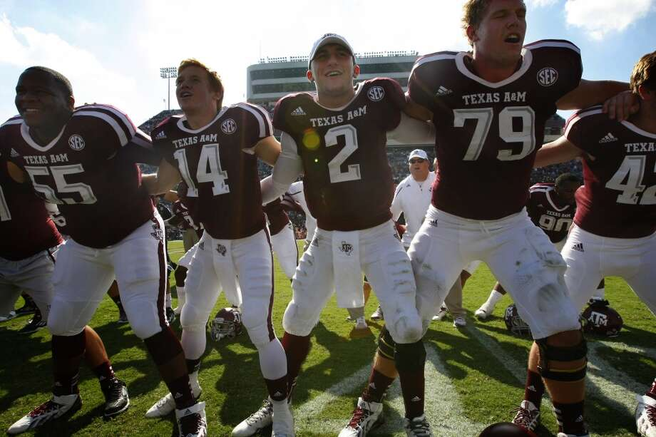 Texas A&M 56, Vanderbilt 24Record: 6-2Texas A&M players celebrate their victory over the Commodores. Photo: Cody Duty, Houston Chronicle