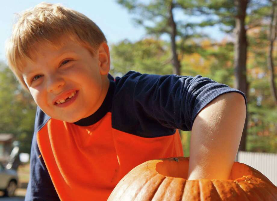 Alex Esser, 6, of Westport having a great time preparing a pumpkin for his jack o' lantern Saturday at Earthplace. Photo: Todd Tracy / Westport News contributed