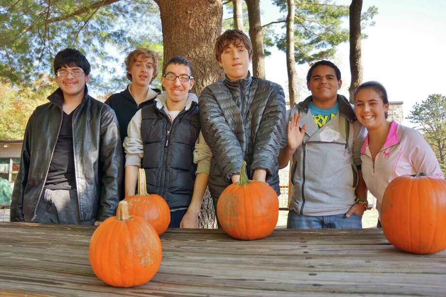 At the pre-Halloween pumpkin-carving event at Earthplace on Saturday, from left: Daniel Rubin, 16, of Fairfield; Jacob Cole, 15, of Ansonia; Ian Ward, 15, of Fairfield; Danial Ambrose, 18, of Bridgeport; Kevin Kandetzki of Milford and Jo Senna of Trumbull. Photo: Todd Tracy / Westport News contributed
