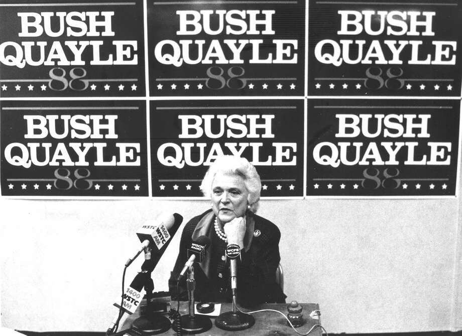 Barbara Bush, wife of vice-President George W. Bush, visits the Bush/Quayle headquarters on Atlantic Street on Nov. 1, 1988. Photo: File Photo, Advocate / Advocate