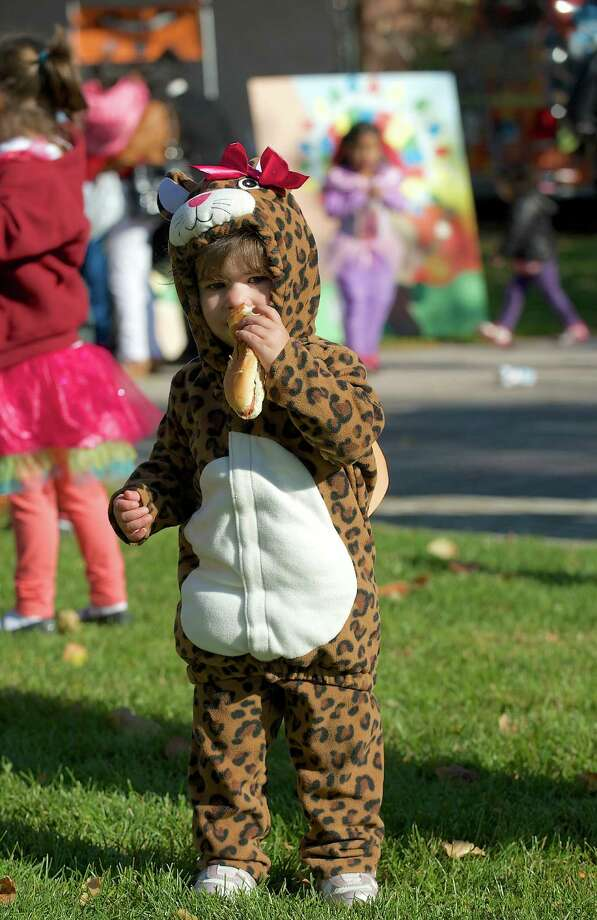 Olivia Barbagallo, 2, of Danbury, attended the 21st annual Halloween on the Green in Danbury, Conn, on Saturday October 26, 2013, dressed as a Leopard. Photo: H John Voorhees III / The News-Times Freelance