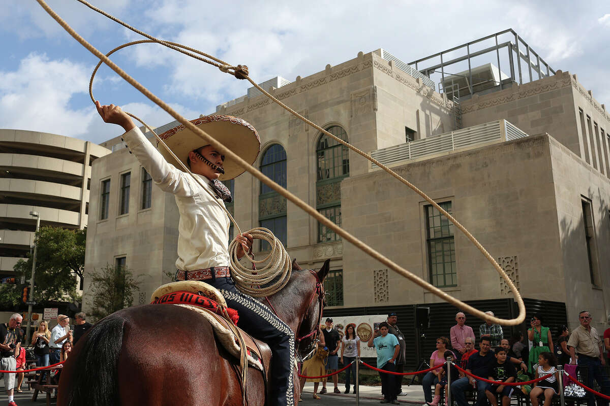 Edmundo Rios III, 17, performs with the San Antonio Charro Association during the grand opening celebration for the Briscoe Western Art Museum in San Antonio on Saturday, Oct. 26, 2013.