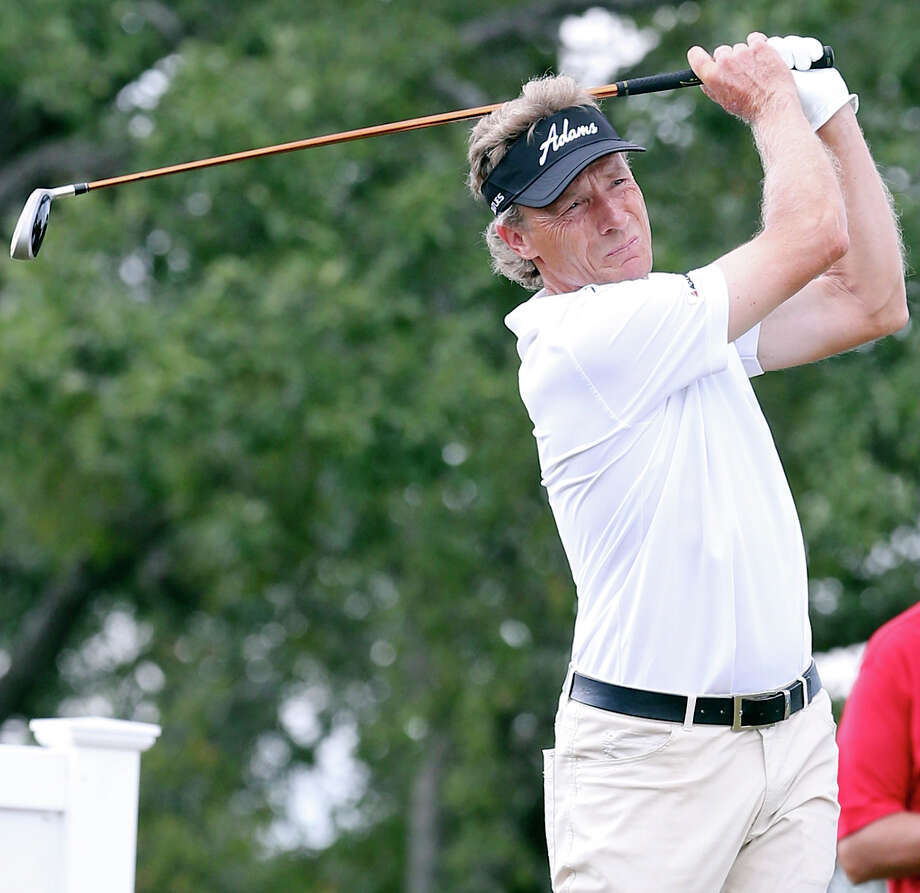 Bernhard Langer tees off on No. 17 during the second round of the AT&T Championship held Saturday Oct. 26, 2013 on the AT&T Canyons Course at TPC San Antonio. Photo: Edward A. Ornelas, San Antonio Express-News / © 2013 San Antonio Express-News