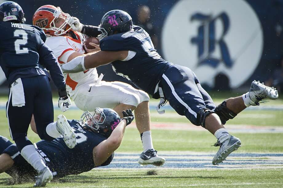 Oct. 26: Rice 45, UTEP 7Record: 6-2UTEP quarterback Blaire Sullivan is hit by Rice defensive tackle Christian Covington. Photo: Smiley N. Pool, Houston Chronicle
