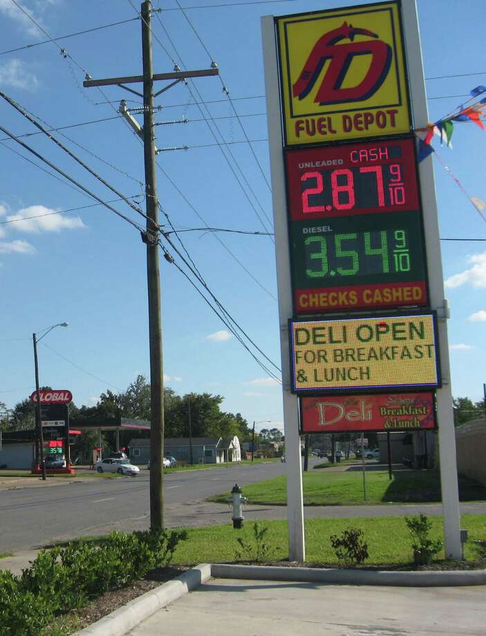 Two stations on South Fourth Street in Beaumont, Global and Fuel Depot, offered prices of $2.87 per gallon for regular unleaded Saturday. Photo: Sarah Moore